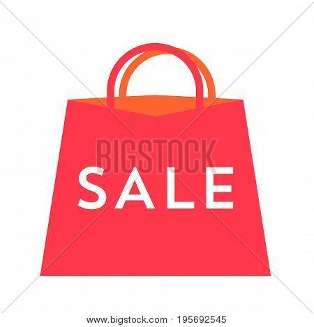 Big sale poster. Flat vector illustration sale bag for your design