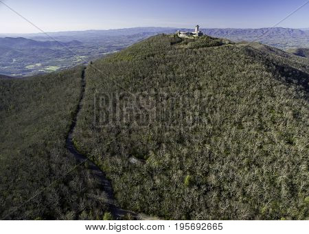 Aerial view of Brasstown Bald complex, the tallest mountain in Georgia