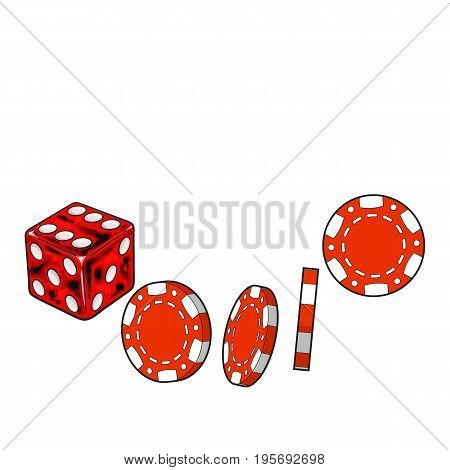 Shiny red dice and gambling chips, casino attributes, sketch style vector illustration isolated on white background. Gambling chips and playing dice on white background