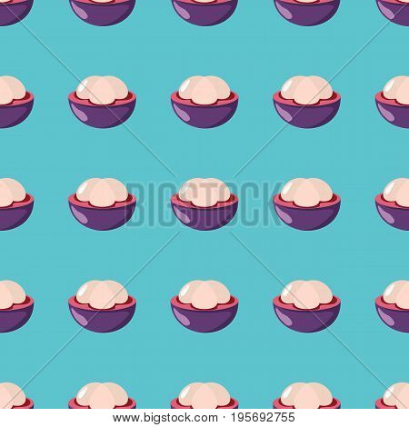 Mangosteen vector seamless pattern. Cartoon fruit stylish texture. Repeating Mangosteen fruit seamless pattern background for friut design and web