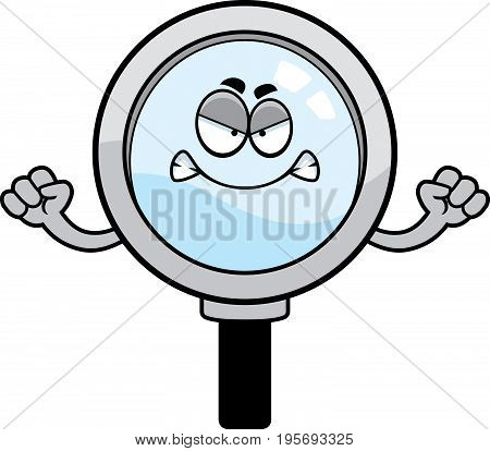 Angry Cartoon Magnifying Glass