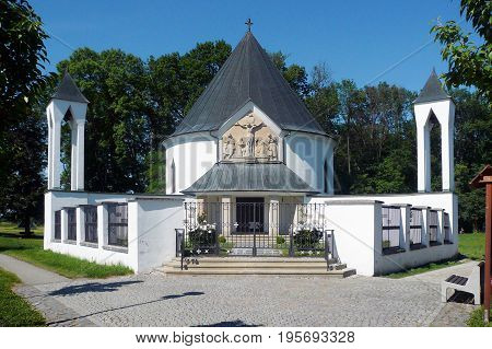 Chapel of St. Cyril and Methodius in Prikazy, Czech Republic. Its circular ground plan resembles a Slavic rotunda, at the back with two apses (sacristy and confessional)