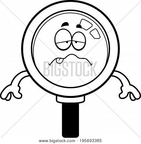 Sick Cartoon Magnifying Glass