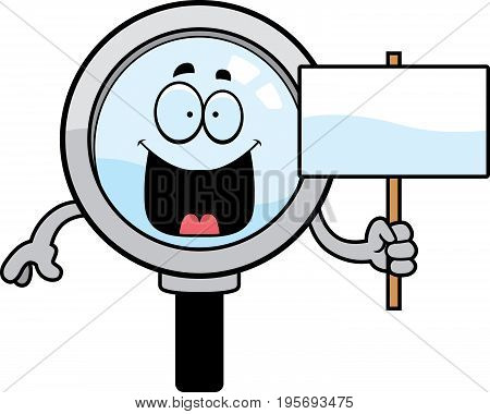 Cartoon Magnifying Glass Sign