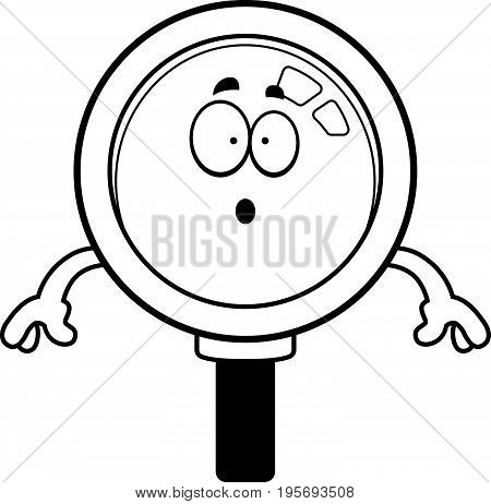 Surprised Cartoon Magnifying Glass