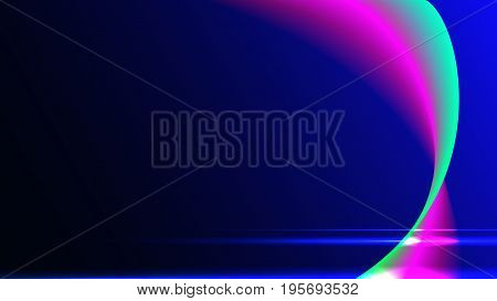 The background is blue with pink and green curved lines. Light effect. Desktop wallpaper. Backdrop, banner, billboard. Horizontal orientation. Vector graphics.