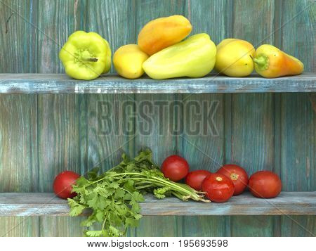 Various vegetables laid on the wooden shelf outdoor cropped photo
