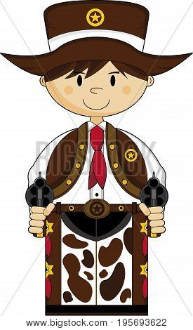 Cute Cartoon Wild West Cowboy Sheriff with Guns