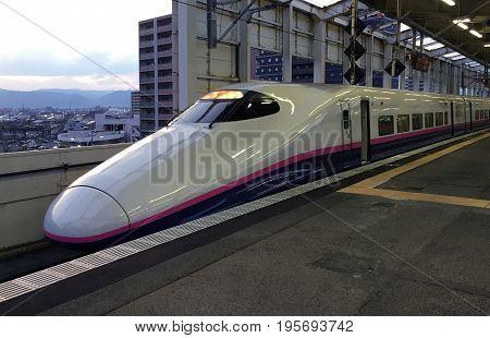 FUKUSHIMA JAPAN - APRIL 21 2017: High-speed train is at the platform of the railway station of Fukushima