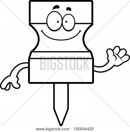 Cartoon Pushpin Waving