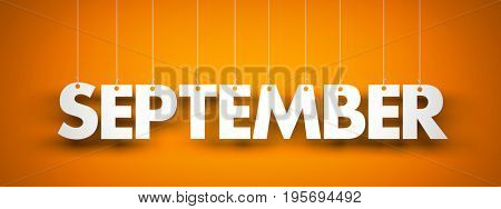 September - text hanging on the strings. 3d illustration
