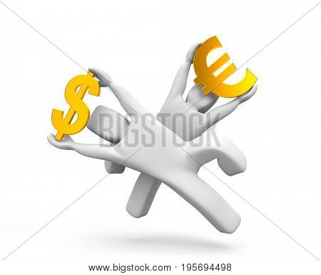 Trying to catch a good exchange rate. 3d illustration