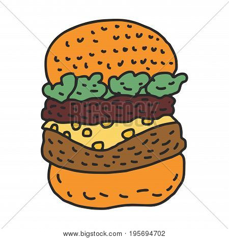 Hamburger Drawing Isolated. Big Burger Cartoon Style