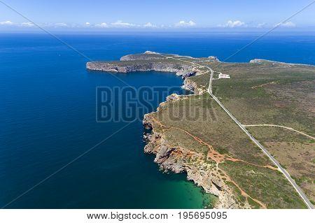 Aerial view of the Cape Saint Vincent (Cabo de Sao Vincente) in Sagres Algarve Portugal
