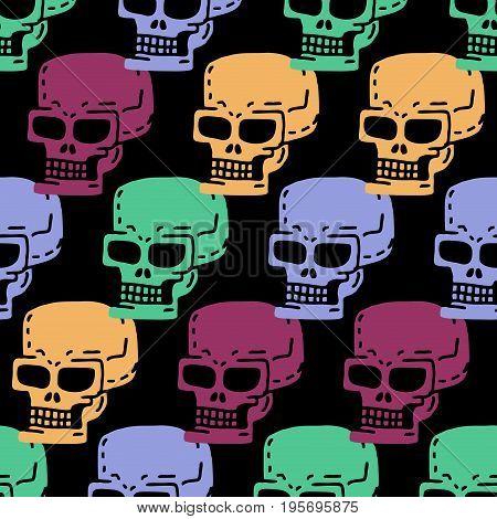 Skull Cartoon Seamless Pattern. Skeleton Head Drawing Ornament. Medicine Background. Retro Vintage T
