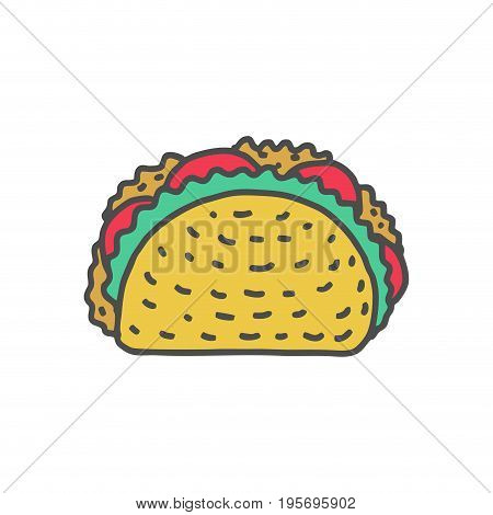 Taco Drawing Isolated. Mexican Fast Food. Food From Mexico Tacos