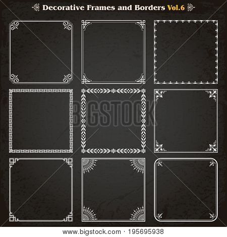 Decorative square frames borders backgrounds design elements set 6 vector