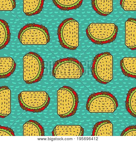Taco Drawing Background. Mexican Fast Food Pattern. Food From Mexico Ornament. Tacos Texture