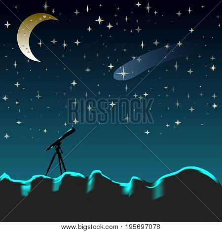 Night sky with moon and stars. Look in the telescope