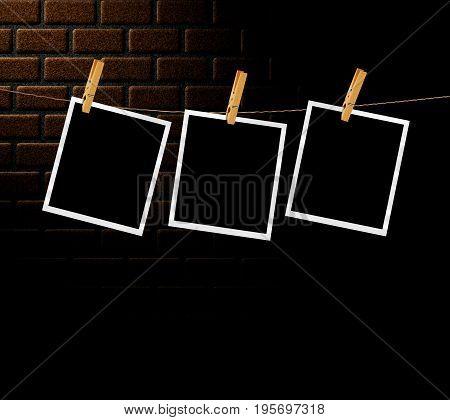 Retro Photos Over Brick Wall