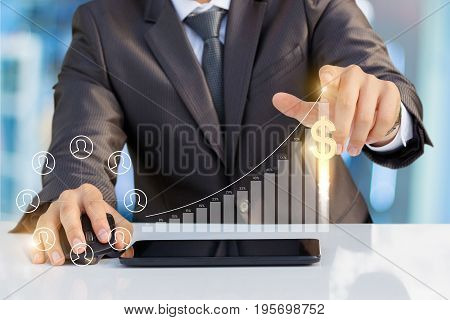 The Businessman Clicks On The Schedule .