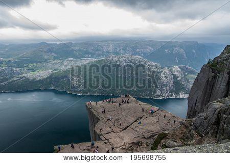 Cloudy day on Preikestolen, Hyvlatonnå, Pulpit rock in Norway, view on  Lysefjordem