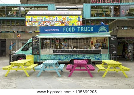 LONDON, UK - JUNE 5 , 2017: Colored food truck on queen's walk in London, UK