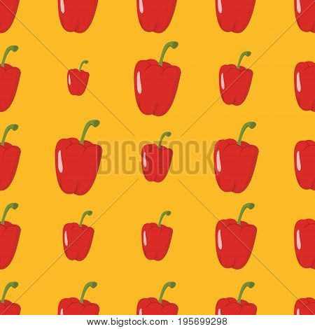 Paprica vector seamless pattern. Cartoon vegetable stylish texture. Repeating paprica vegetables seamless pattern background for eco bio vegetables design and web