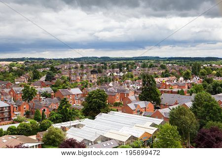 View from above of Stratford-Upon-Avon, Warwickhire, England, butterfly farm, selective focus