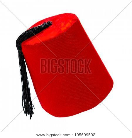 Traditional Turkish Hat Called Fez Isolated