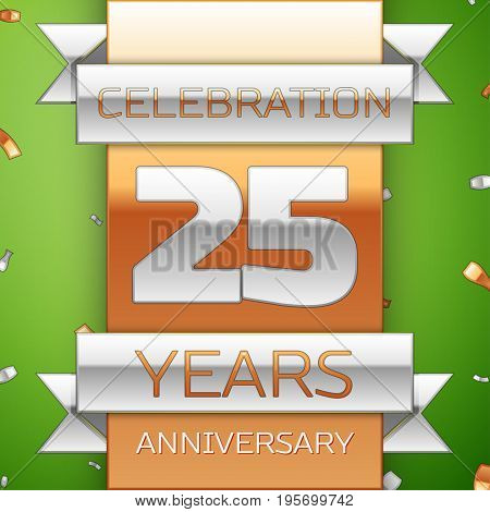 Realistic Twenty five Years Anniversary Celebration Design. Silver and golden ribbon, confetti on green background. Colorful Vector template elements for your birthday party. Anniversary ribbon