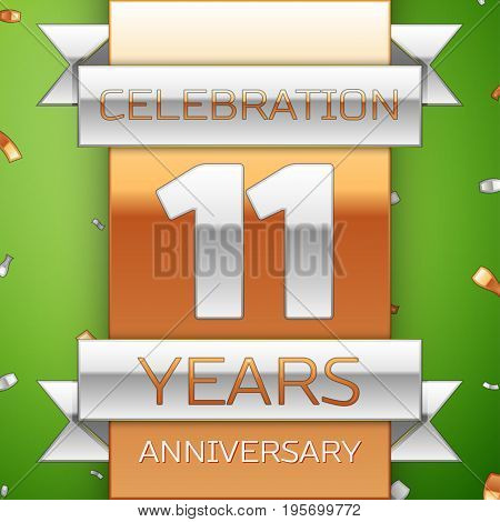Realistic Eleven Years Anniversary Celebration Design. Silver and golden ribbon, confetti on green background. Colorful Vector template elements for your birthday party. Anniversary ribbon