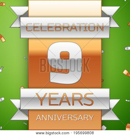 Realistic Nine Years Anniversary Celebration Design. Silver and golden ribbon, confetti on green background. Colorful Vector template elements for your birthday party. Anniversary ribbon