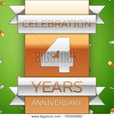 Realistic Four Years Anniversary Celebration Design. Silver and golden ribbon, confetti on green background. Colorful Vector template elements for your birthday party. Anniversary ribbon