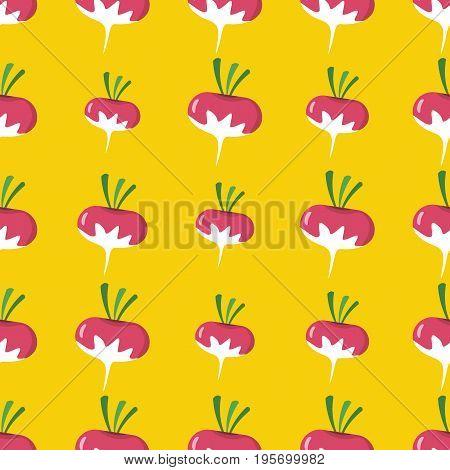 Radish vector seamless pattern. Cartoon vegetable stylish texture. Repeating radish vegetables seamless pattern background for eco bio vegetables design and web