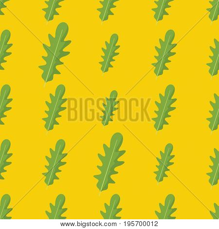 Rucola or arugula vector seamless pattern. Cartoon vegetable stylish texture. Repeating Rucola or arugula vegetables seamless pattern background for eco bio vegetables design and web