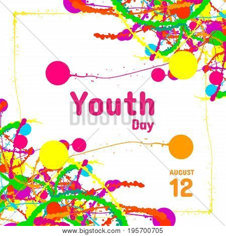 International Youth Day greeting card, August 12, vector design element