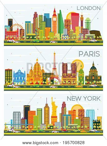London, Paris, New York Skyline with Color Buildings and Blue Sky. Business Travel and Tourism Concept with Historic Architecture.