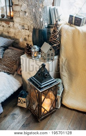 Decorated Foto Zone With Laterns And Candles