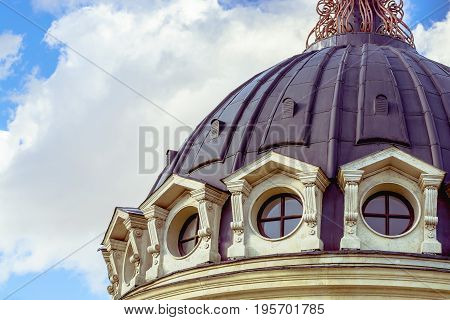 Close up view of the dome of with blue sky, shot from Kazan, Russia