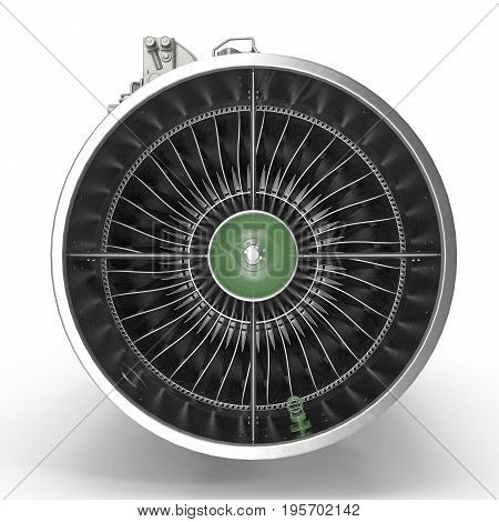 turbofan aircraft engine on white background. Front view. 3D illustration, clipping path