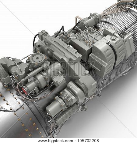 turbofan aircraft engine on white background. 3D illustration, clipping path