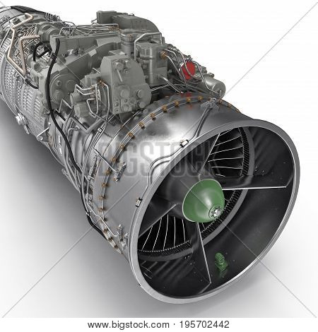 jet turbofan engine on white background. 3D illustration, clipping path