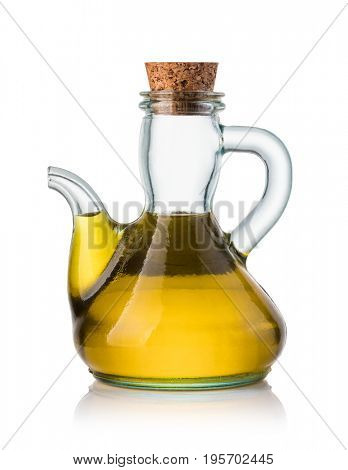 Olive oil in a bottle isolated on white background
