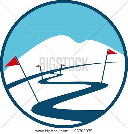 Ski Track Logo. Winter Landscakpe, Mountain, Red Flags and Snow in a Flat Style