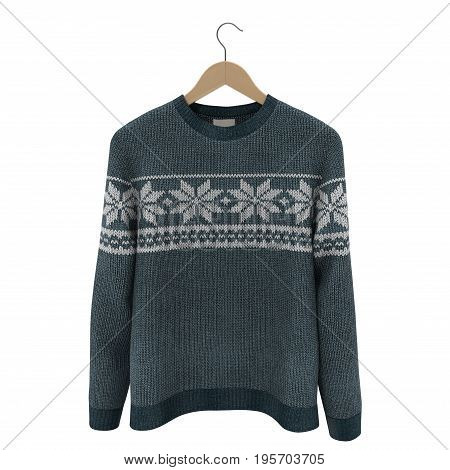 Man's sweater with hanger on white background. Front view. 3D illustration, clipping path