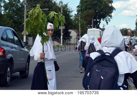 Orthodox religious procession.Nuns of St. Catherine's Monastery.Kiev region,Ukraine.July 17, 2017