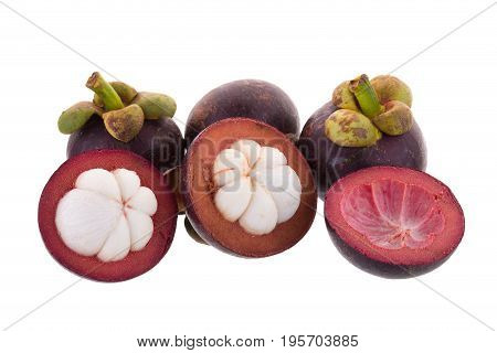 Mangosteens Queen Of Fruits, Ripe Mangosteen Fruit Isolated On White Background