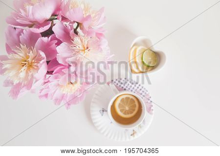 greeting, table, natural, floral, white, spring, dream, view, coffee, flower, tender, lay, cup, breakfast, notebook, morning, card, top, petals, tea, pink, wood, lavender, lifestyle, girl, desk, design, bouquet, good, woman, text, above, beauty, paper, wo