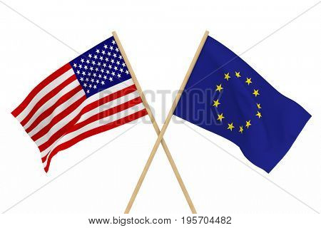 flags USA and EU. Isolated 3D illustration